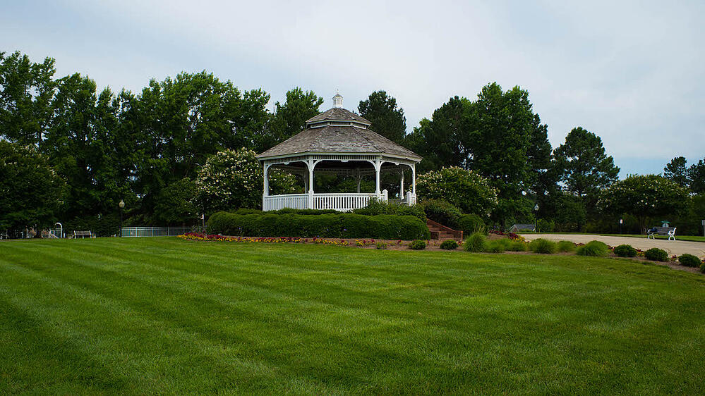 HOA common area landscape with gazebo