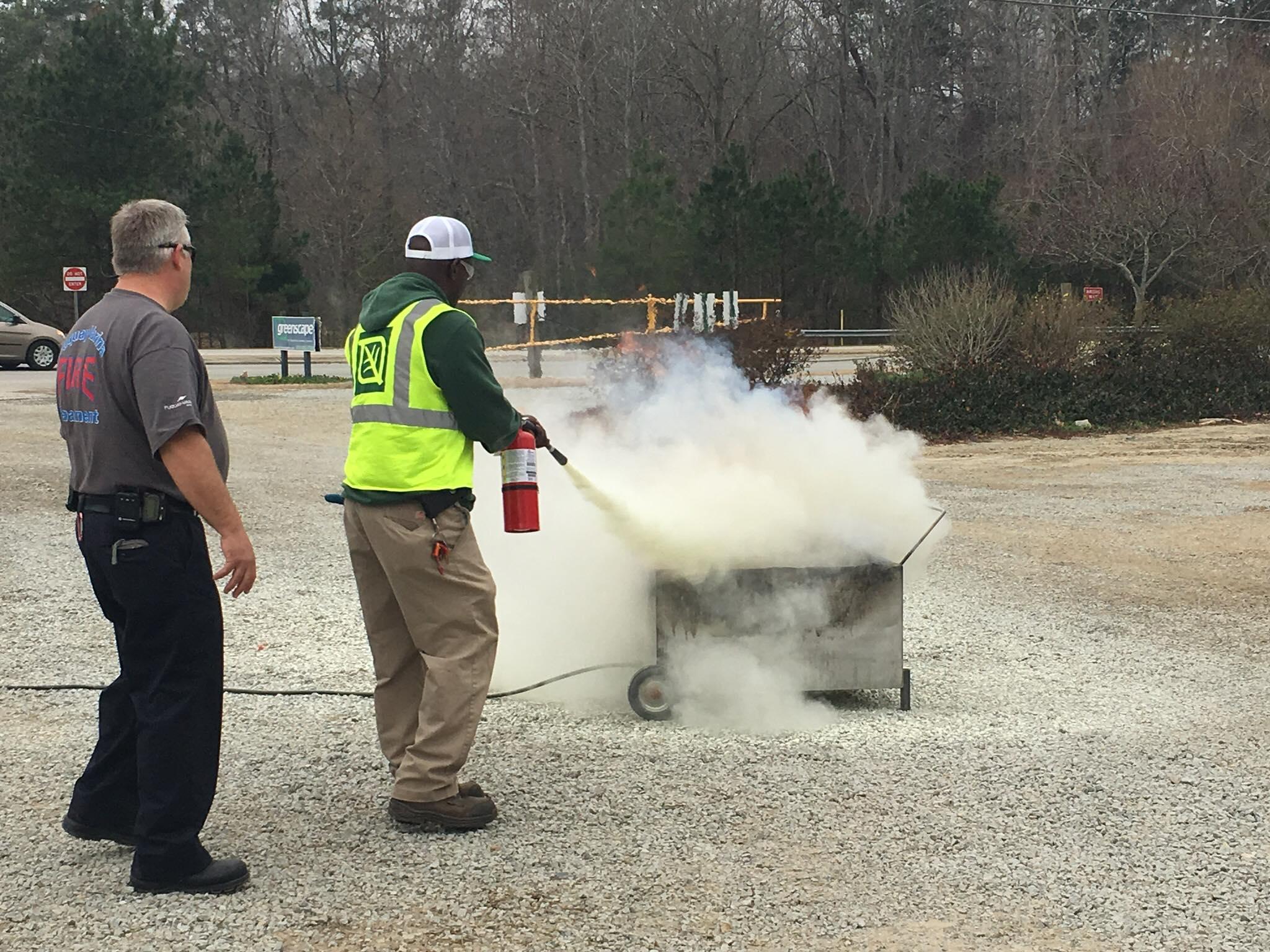 Greenscape fire extinguisher training