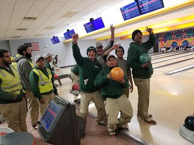 Greenscape landscaping team company bowling party 1