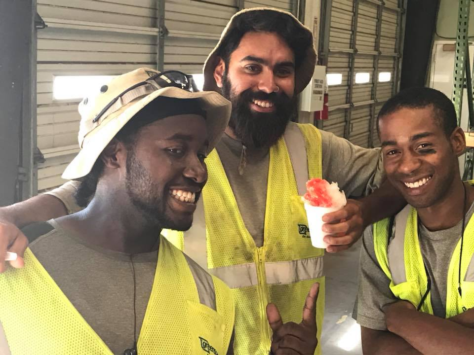 Greenscape  employees enjoying snow cone party