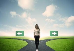 woman choosing a direction