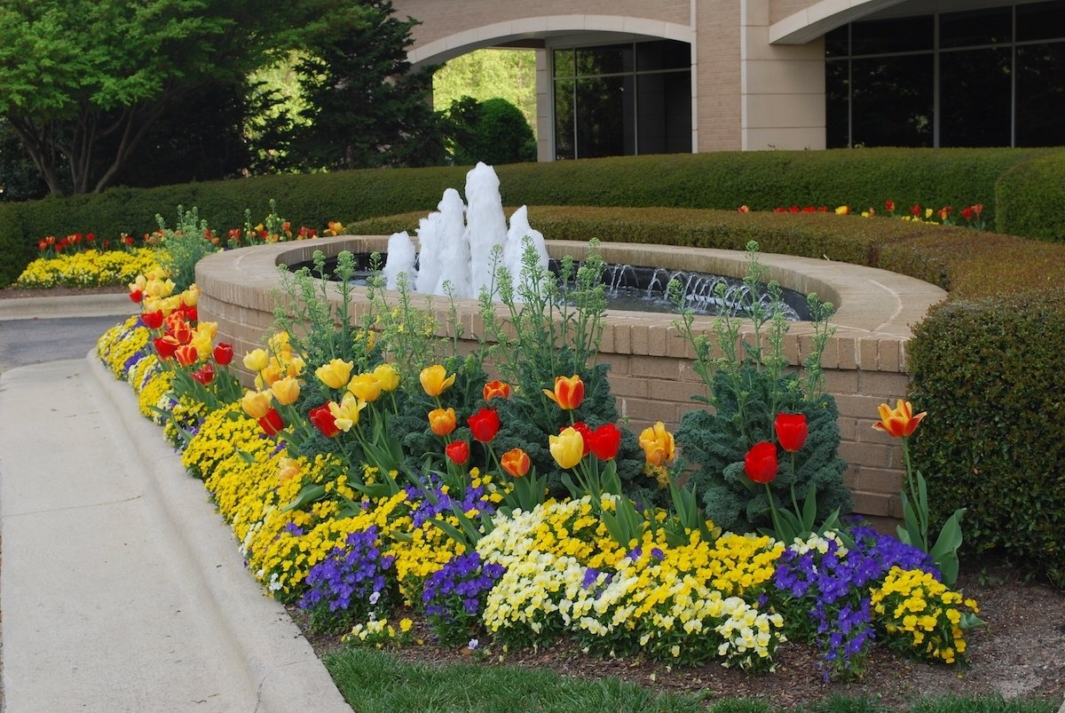 Pond with waterfall and flowers on commercial property